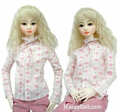 HAPPY DOLL Pink Clover print, long sleeve,blouse SD60 New Mint