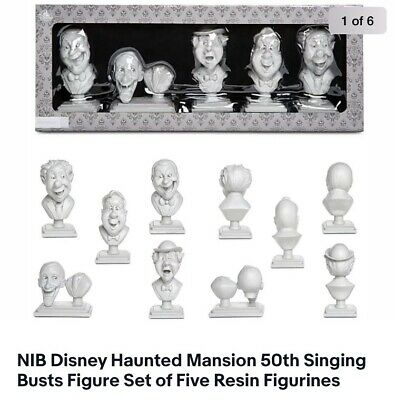 Disney Haunted Mansion 50th Singing Busts Resin Figurine Box Set Of Five