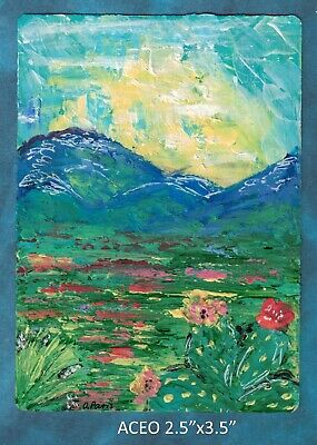 Original ACEO - Spring - Abstract - miniature acrylic painting, not framed