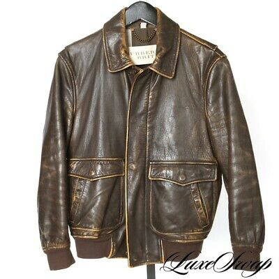RUGGED Burberry Brit Distressed Brown Leather Aviator Pilot Jacket Coat M NR