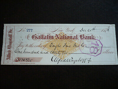 Cheque from The Gallatin National Bank, New York - 1876