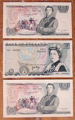 3 X £5 Bank Of England Consecutive Five Pound Notes 46J (799-801) J B Page Unc