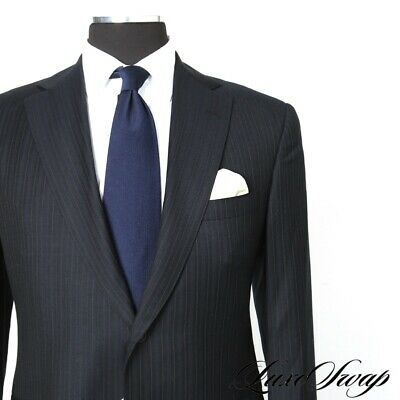Oxxford Clothes Mason S120s Midnight Blue Alternating Pinstripe 2B 2V Suit 36 R