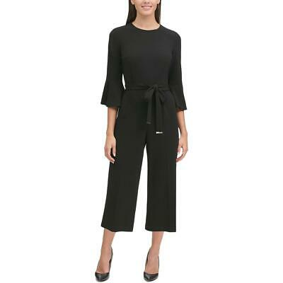 Tommy Hilfiger Womens Black Wide Leg Office Wear Cropped Jumpsuit 2 BHFO 6423