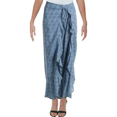 Aqua Womens Blue Tie Front Fly-Away Wide Leg Palazzo Pants L BHFO 3730