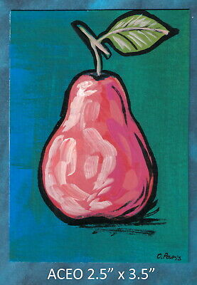 Original ACEO - Abstract Pear - miniature acrylic painting, not framed
