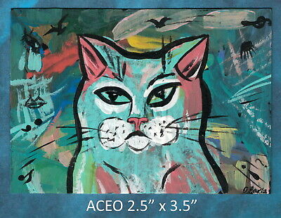 Original ACEO - Abstract Cat - miniature acrylic painting, not framed