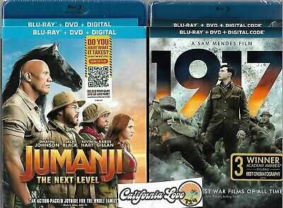 1917 + Jumanji The Next Level Blu-Ray + Dvd 4-Disc 2-Movie ✔☆Mint☆✔ No Digital