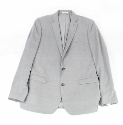 Bar III Mens Blazer Gray Size 44 Long Slim Fit Two-Button Notched Wool $425 #235