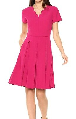 Tahari by ASL Women's Dress Pink Size 14 A-Line Pleated Scallop $155- #140