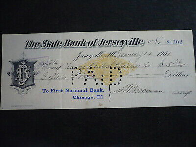 Cheque from The State Bank of Jerseyville, Illinois - 1901