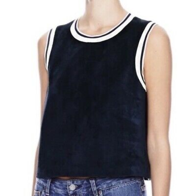 Theory Dark Navy Blue Suede Leather Cropped Tank Top Size Small
