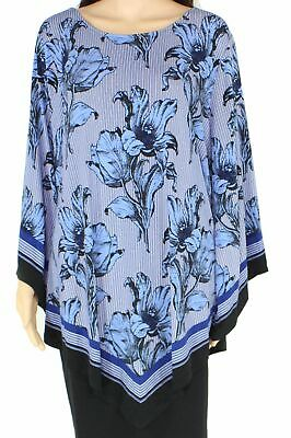 Alfani Women's Blouse Blue Size 3X Plus Floral Striped Handkerchief Hem $75 #206
