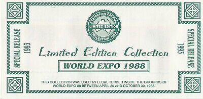 Brisbane World Expo 1988 Currency Special Release Ltd Edition Collection UNC