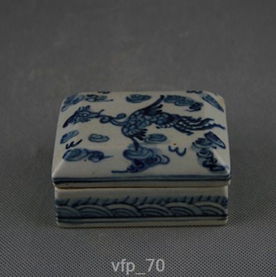 Old China sign Ming Dynasty Blue and white Phoenix Inkpad Inkstone box son