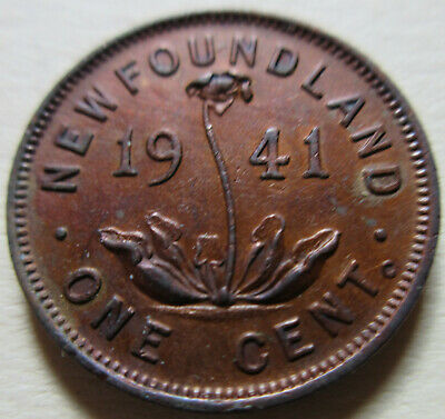 1941 Canada Newfoundland Small Cent Coin. RED NICE GRADE (RJ808)