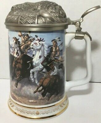"Vintage ""Thundering Hooves"" Warriors Of The Plains Tankard Collection, Buffalo"