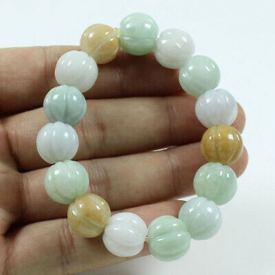Certified Grade A Jadeite 3 Color 13mm Carving Beads hand chain Bracelets j687