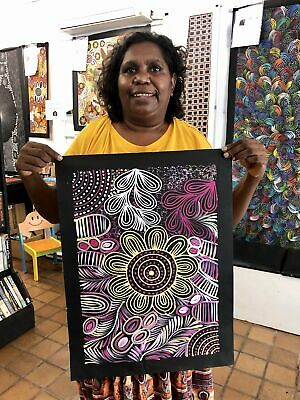 #122 Medicine at the Waterholes - SELINA NUMINA :Aboriginal Art: 38x53cm