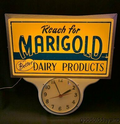 Vintage 1950s 60s Marigold Better Dairy Products Lighted Advertising Clock Sign