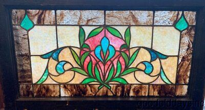 """Antique Colorful Stained Leaded Glass Transom Window Circa 1900 32""""x18"""""""