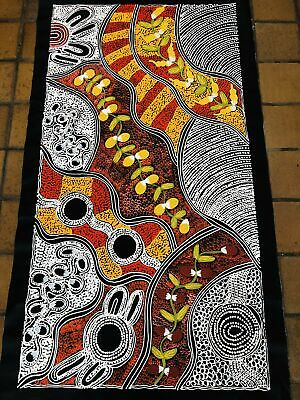 #124 Women Collecting - LANITA NUMINA : Aboriginal Art:  64x123cm