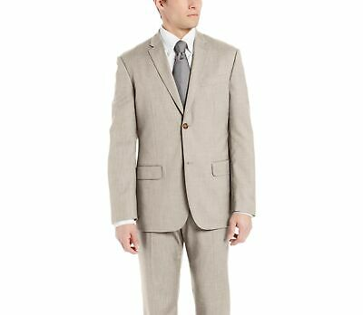 Perry Ellis Mens Blazer Beige Size 42 Two Button Regular Fit Notched $185 #033