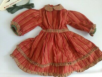 "1997 RETIRED AMERICAN GIRL ADDY  striped dress/ribbon/hanger 18"" doll clothing"