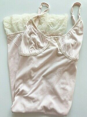 Anthropologie Chemise M ELOISE Sleep Babydoll Pink Shimmer Stretch Knit Lace NWT