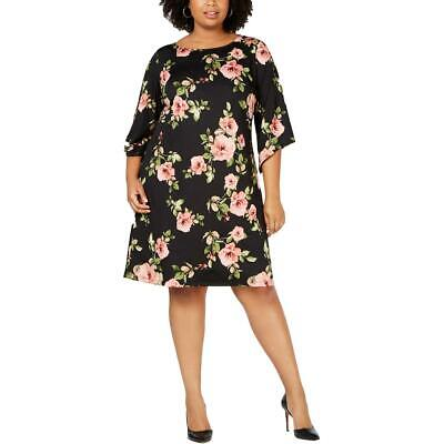 NY Collection Womens Black Floral Bell Sleees Shift Dress Plus 1X BHFO 1625