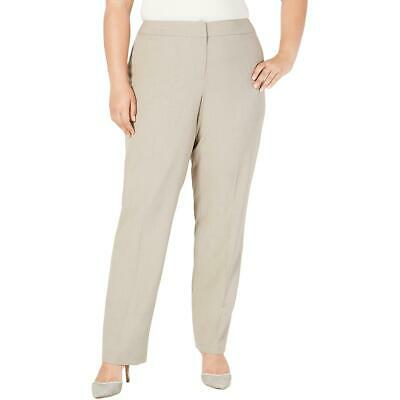 Nine West Womens Beige Solid Stretch Straight Leg Pants Plus 14W BHFO 4687