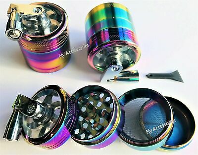 Rainbow Mill Grinder 40mm 4 Part Hand Crank Herb Crusher Magnetic.