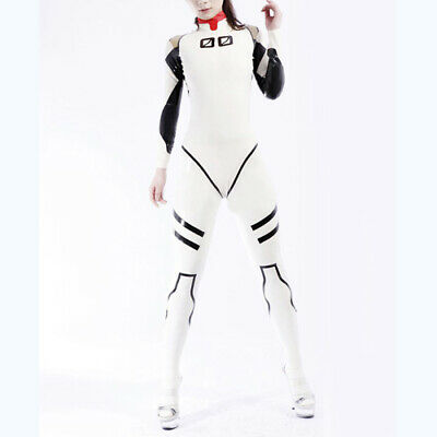 Latex Rubber Catsuit Cosplay White and Black Sexy Sport Overall Suit S-XXL 0.4mm