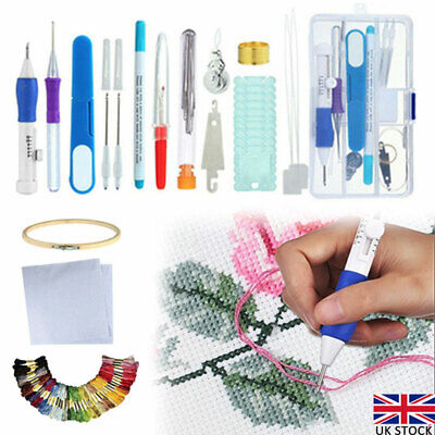 DIY Embroidery Pen Knitting Sewing Tool Kit Magic Punch Needle Set + 50 Threads