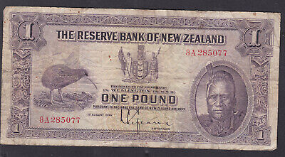 New Zealand, 1933 Le Fauvre Maori Head One Pound note