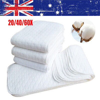 20/40/60XNappy Inserts Liners Reusable Washable Cloth Nappies Diapers Baby