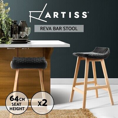 Artiss 2x Outdoor Furniture Wicker Bar Stools Rattan Bar Stool Chairs Black