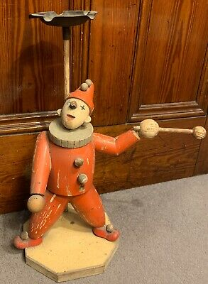 """1920s Art Deco Clown Ashtray Stand Wooden With Metal 17"""" High"""