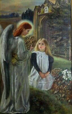 Fine Large Antique 19th Century Angel & Girl Oil On Canvas Painting
