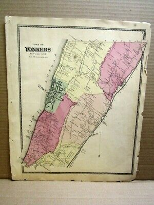 1867  Town Yonkers Map Westchester Co., Ny  Beers Atlas