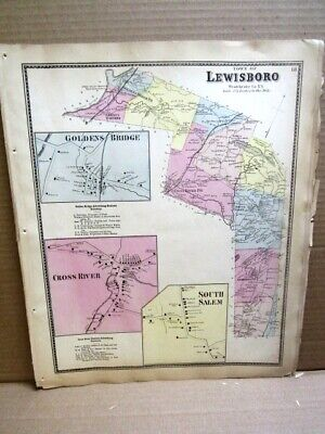 1867 Tn Lewisboro Golden Bridge Cross River Map Westchester Co Ny  Beers Atlas