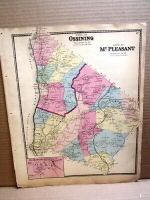 1867 Town Mt. Pleasant Twn Ossiining Maps Westchester County, Ny  Beers Atlas