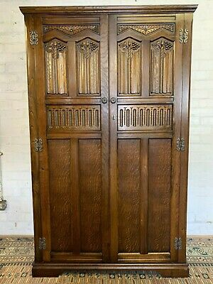 "Fantastic Quality ""Lock Of London"" Carved Oak Two Door Wardrobe/Cupboard"