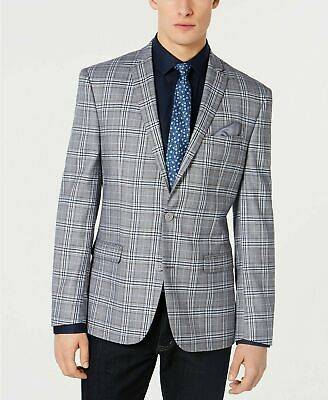 $295 Bar III Men's Active Stretch Slim-Fit Plaid Sport Coat 46R Grey