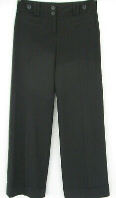 Ann Taylor women Signature Fit Straight Pants size 2 black rayon Lined Cuffed