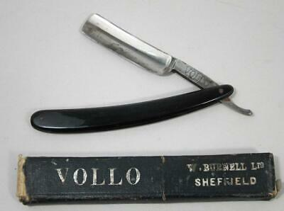 FINE VINTAGE STRAIGHT RAZOR & CASE VOLLO W BURNELL SHEFFIELD 1920 shaving