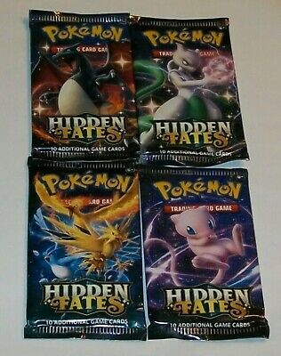Pokemon TCG x4 Hidden Fates booster packs Factory sealed - Art set