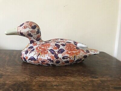 Antique Chinese Porcelain Large Duck Signed Imari Decoration - Length 28cm