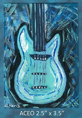 Original ACEO - Guitar, Abstract - miniature acrylic painting, not framed