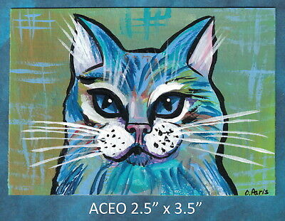 Original ACEO - Cat, Abstract - miniature acrylic painting, not framed